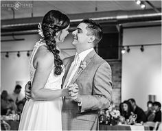 B&W first dance wedding photography at Artwork Network Wedding Reception in the Santa Fe Arts District of Denver, Colorado. - April O'Hare Photography http://www.apriloharephotography.com #DenverWedding #ArtworkNetwork