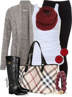 boots, scarf, sweater, Burberry plaid...love!