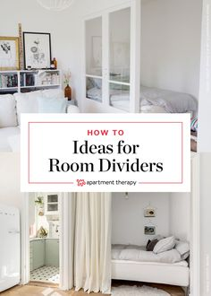 """The challenge: create a """"bedroom"""" (well, at least a bed nook) in an open-layout studio apartment. our solution: choose visual dividers that separate the Studio Apartment Layout, Studio Apartment Decorating, Apartment Therapy, Studio Apartments, Modern Apartments, Apartment Interior, Studio Apartment Partition, Studio Apartment Living, Studio Apt"""