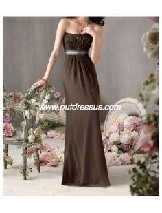 Bridesmaid Dresses Chocolate Chiffon Strapless Neckline Sleeveless Floor Length Hemline