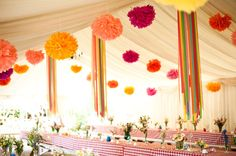 Check it Holly, pom pom balls for weddings. :) I never thought of these colors for a wedding but it totally works.