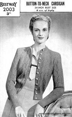 "Ladies Button Up Lace Cardigan 34"" Bust Vintage 1940s Knitting Pattern Bestway 2003 Pdf Download"