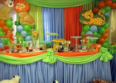 Birthday Party – Noah's Ark 2 Great ideas for any themes as far as backdrop and table skirts and decorating.