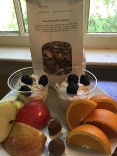 Need a Snack on the Run?  This is an example of what you would get.  A bag of Glencairn Granola, 2 yogurts, fruit, and 2 truffles.