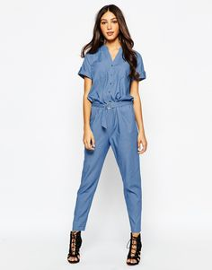 238e9a2c185 Never Fully Dressed Chambray Jumpsuit with D Ring Belt at asos.com