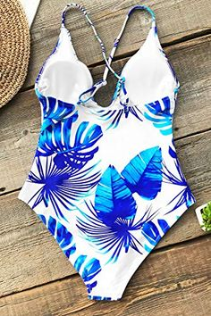 CUPSHE Blue And White Leaf Print One-piece Swimsuit Women Deep V-neck Adjustable Monokini 2018 New Beach Bathing Swimwear Cute Swimsuits, Women Swimsuits, Flattering Swimsuits, Blue And White One Piece, Bikinis, Swimwear, Blue Leaves, Leaf Prints, Monokini