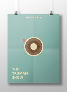 """Movie poster for """"The Truman Show"""" reimagined by jimdesigns. Minimal flat design shows a camera lens against a soft blue background. #minimalist #film #illustration"""
