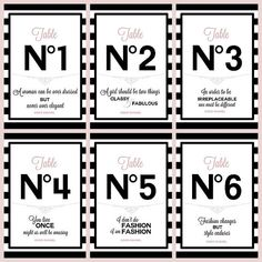 Table numbers #1-6 with Chanel quotes Bridal/Baby shower/Birthday party/Sweetsixteen 16/Quinceanera/Wedding/Paris/France/Chanel Black/Pink