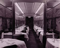 Dining car is ready for patrons.