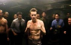 'The first rule of Fight Club is you do not talk about Fight Club.' British director David Fincher's brilliant 1999 cult movie satire is a totally shocking, disturbing, adrenaline… Fight Club Brad Pitt, Fight Club 1999, Fury Haircut, Reggie Watts, Mother Courage, Edward Norton, David Fincher, Art Of Manliness, This Is Your Life