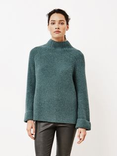 Soft Goat Women's Ribbed Turtle Neck Forest Green