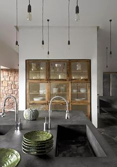 Divine Renovations Industrial Kitchens #Cement #Charcoal #Rustic #Cabinetry #Glass #Pendant #Lights
