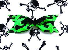 Deranged Bat Cheetah Hair Bow - Acid Green by PUNK UP BETTIe
