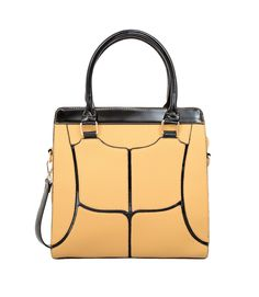 Edgy symmetrical pattern amp up the attitude of a mix-textured faux leather satchel with a structured silhouette, topped with patent handles and an optional, adjustable strap.