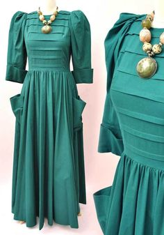 Vintage 80s Emerald Green Droopy & Browns Edwardian Style Dress • by A – Top Notch Vintage
