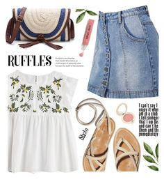 """Ruffles - Shein"" by yexyka ❤ liked on Polyvore featuring WithChic, Bobbi Brown Cosmetics, Jane Iredale, white, skirt and ruffledtops"