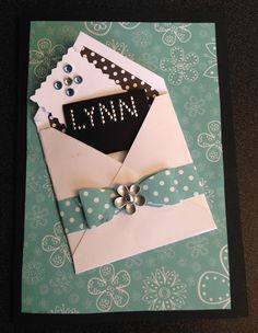 Birthday Card for your daughter, friend, or mom.  I made an envelope and lined it for more impact. I wrapped it with a paper bow and added embellishments and a personalized name.