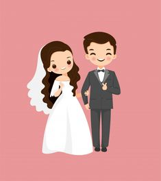 Cute Bride And Groom With Flower Hexagon Arch In The Natural – My Wedding Dream Bride And Groom Cartoon, Wedding Couple Cartoon, Cute Couple Cartoon, Cute Love Cartoons, Wedding Illustration, Couple Illustration, Indian Wedding Invitation Cards, Wedding Cards, Wedding Couples