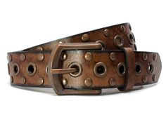 Women's brown leather belt with bronze studs and grommets is guaranteed nickel free