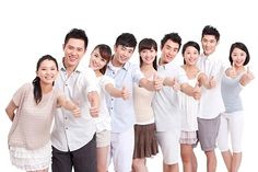 Portrait Of Young Friends Showing Thumbs Up  / Royalty Free Images at Inmagine