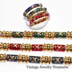 JOAN RIVERS Lot 3 Enamel Gold Tone Bracelets & Matching Rings Size 7