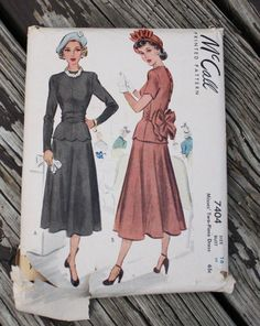 McCall 7404 1940s 40s Dress Blouse Skirt by EleanorMeriwether
