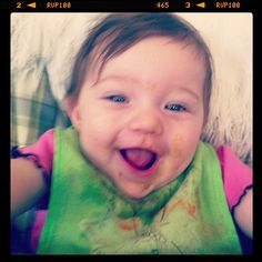 Happy & covered in spinach/peas/apples #baby #babybullet #happy #smiling #7months #babyfood