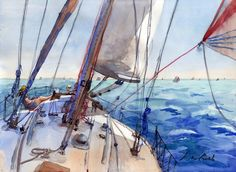 Sailing Painting - Flying The Chute by Max Good