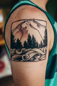 My Mount Rainier and Puget Sound tattoo courtesy of Mike at House of Tattoo in Tacoma, WA