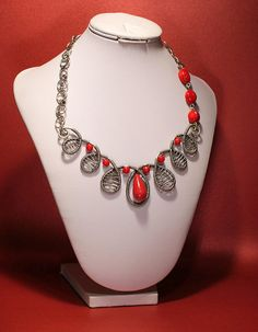 Coral Necklace-Red necklace-Free shipping--silver wire jewelry-Wirewrapped Necklace- Wire Wrapped Jewelry Handmade-Coral Jewelry. $84.00, via Etsy.