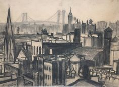 Available for sale from Greg Thompson Fine Art, George Benjamin Luks, New York City Scape (ca. Charcoal on paper, 16 × 22 in