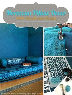 Moroccan Pillow Decor with Stencils and Beads - Painted Fabric Pillow DIY Tutorial from Royal Design Studio (Diy Pillows Decorative) Moroccan Home Decor, Moroccan Design, Diy Home Decor, Diy Pillows, Decorative Pillows, Closet Nook, Moroccan Wall Stencils, Wedding Pillows, Floor Seating