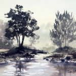 Watercolor plein air painting Grose River morning light