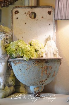 Antique French Wall Sink Turquoise Chippy Paint by edithandevelyn on Etsy