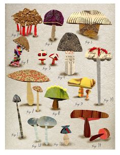 mixed media non edible mushroom botanical 2 by susanfarrington, $18.00