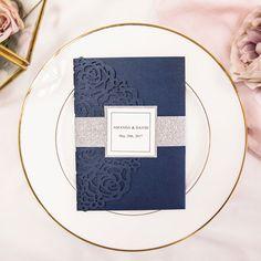 elegant navy blue laser cut pocket wedding invitations with glitter belly band