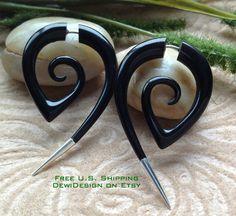 Fake Gauge Earrings Hand Carved Naturally Organic Dragon Head Sono Wood Tribal