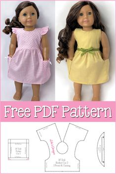 Barbie Clothes Patterns, Doll Dress Patterns, Doll Sewing Patterns, American Girl Dress, American Doll Clothes, Og Dolls, Girl Dolls, Boy Doll Clothes, Baby Mermaid