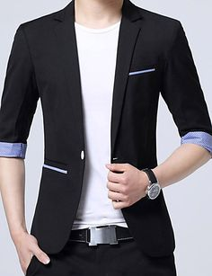 Men's Casual/Daily Work Simple Spring Summer BlazerColor Block V Neck Regular Cotton Acrylic K472-1 5813449 2017 – $573.91