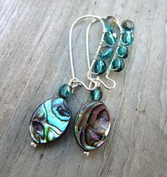 Paua Shell EArrings Abalone Kidney Wires Wire by LeanneDesigns Shell Earrings, Drop Earrings, Paua Shell, Beaded Jewelry, Unique Jewelry, Shells, Wire, Shop Sale, Trending Outfits