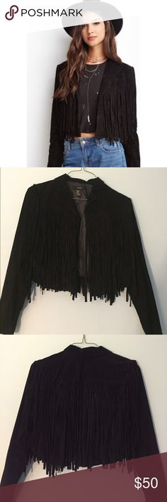 Suede fringe jacket NEVER WORN! Beautiful jacket. It's kinda heavy. I got it as a gift but I'm not daring enough to wear it out in public. Give me an offer (-: Forever 21 Jackets & Coats