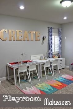 Playroom Makeover!  Art Center, Lego Table, Dress Up Storage, and more!  Lots of DIY Ideas!