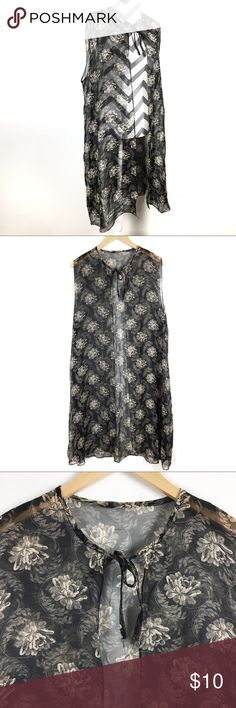 Sheer floral vest with neck tie OS Good for layering or a costume. Jackets & Coats Vests