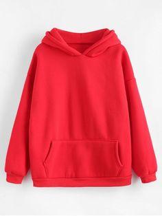 Autumn and Winter Front Solid Full Regular Drop Hooded Hoodie Kangaroo Pocket Fleece Lining Hoodie Hoodie Outfit, Red Hoodie, Hoodie Jacket, Sweater Hoodie, Hoody, Girls Fashion Clothes, Girl Outfits, Casual Outfits, Fashion Outfits