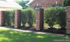 Brick And Metal Fence Designs Metal fence brick columns