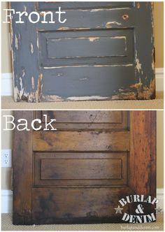 Dumped & Found: Half Light Door {Vaseline Finish & Antiqued Mirror} | Burlap & Denim