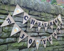 CHEERS TO 30 YEARS, Beer Themed Birthday Banner