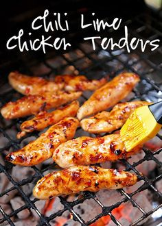Chili Lime Chicken Tenders Recipe - only 4 simple ingredients! Chicken, sweet chili sauce, lime juice and honey. Tons of great flavors! We ate this two days in a row - can't get enough of this simple grilled chicken recipe!