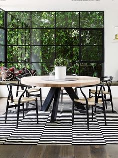 Stripes for dining room decor inspirations. See more: http://www.brabbu.com/en/inspiration-and-ideas/