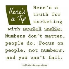 Here's a truth for marketing with social media. Numbers don't matter, people do. PDI Tips via Polka Dot Impressions Social Media Marketing, Fails, Numbers, Polka Dots, Management, Math, People, Inspiration, Biblical Inspiration